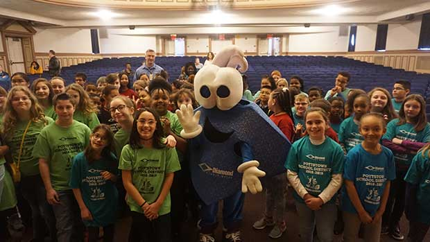 Diamond mascot Chip visits students at Pottstown Middle School